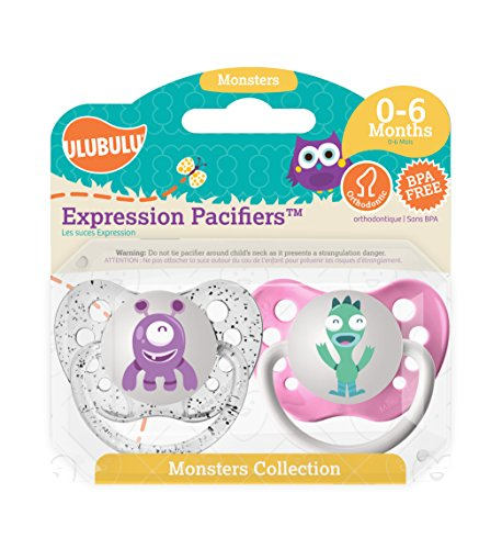 Ulubulu Pacifiers for Girls, Purple and Teal Monster, 0-6 months