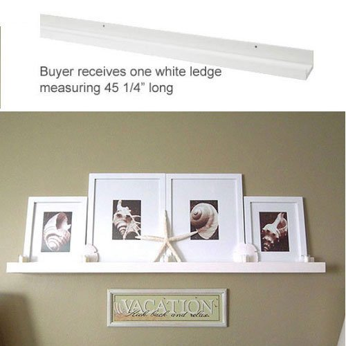 Modern White Floating Ledge for Photos, Pictures and Frames 45 1/4″ Long – Floating Shelves