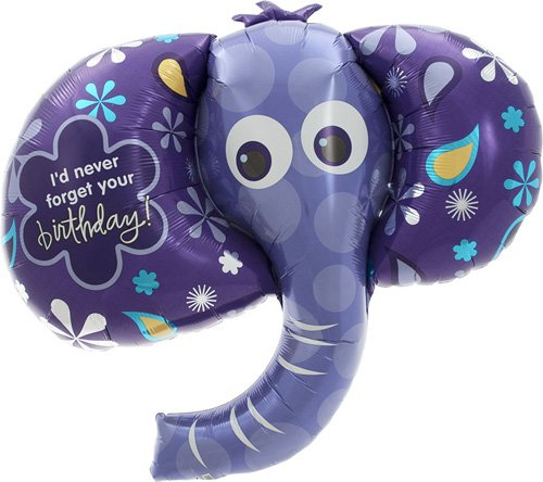 Birthday Elephant Helium Foil Balloon - 42 inch