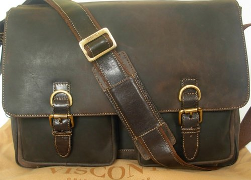 New Visconti large brown hunter leather messenger man bag Style 16015