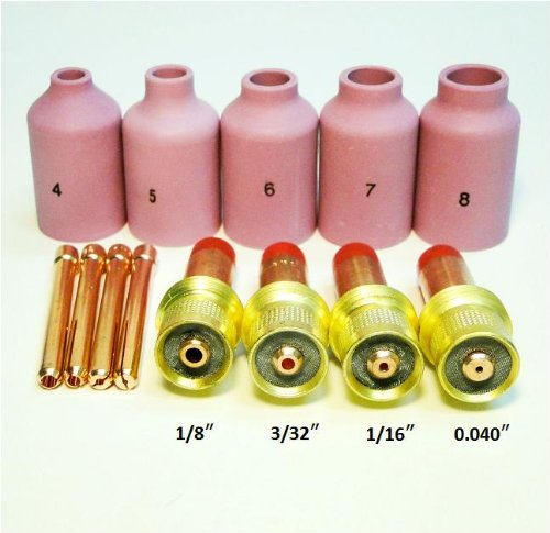 Read About Accessory Kit Cup-Collet-Gas Lens Setup 0.040-1/16-3/32-1/8 for TIG Torch 17, 18 & 26