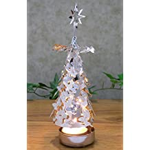 Spinning Candles - Silver Metal Tree With Butterflies - Scandinavian Design Candle Holder - The Tree Rotates When...