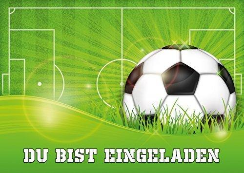 11 Fussball-Einladungskarten (Nr. 10687) zum Kindergeburtstag oder zur Fussball-Party von EDITION COLIBRI © - umweltfreundlich, da klimaneutral gedruckt