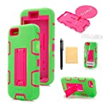 TIANLI(TM) Rugged Hybrid TUFF Case With Stand Fit For Apple iphone 5 5S+[Screen Protector]+[Free Stylus]+[Cleaning Cloth] Green Pink A1