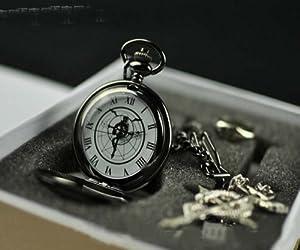 Topbill FullMetal Alchemist Anime Edward Pocket Watch Cosplay Ring Necklace Set (new B)