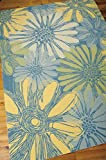 Indoor/Outdoor Blue Patio & Porch Rug 10ft. x 13ft. Floral Pattern