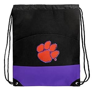 Buy Clemson Drawstring Bag Backpack Purple Clemson Tigers Draw String Back Pack Bag by Broad Bay