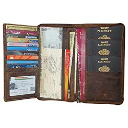 Style98 Pure Leather Brown Men Long Travel Wallet with Card Holder & Coin Pocket