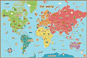 Wall Pops WPE0624 Kids World Dry Erase Map Decal Wall Decals from Wall Pops