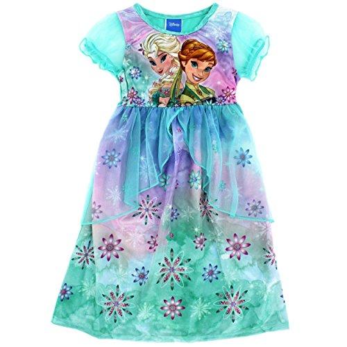 Disney Princess Girls Fantasy Nightgown Pajamas (4, Anna Elsa Green) (Disney Tangled Clothing compare prices)