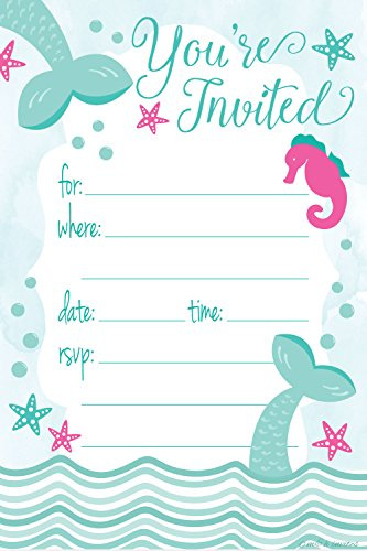 Great Deal! Mermaid Birthday Party Invitations - Fill In Style (20 Count) With Envelopes
