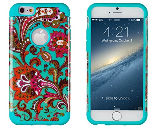 """Iphone 6, Dandycase 2In1 Hybrid High Impact Hard Vintage Floral Pattern + Teal Silicone Case Cover For Apple Iphone 6 (4.7"""" Screen) + Dandycase Screen Cleaner"""