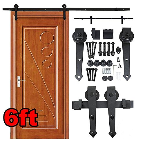 Topeakmart 6 Ft Antique Single Sliding Barn Wood Door Hardware Steel Track System Kit Set (Black) (French Door Barn Door Hardware compare prices)