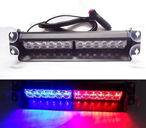 Hot! Bright 36W Led Bulb Police Emergency Vehicle Visor Dashboard Windshield Rear Strobe Lights Winter Snow Frog Raining Warning Security Lamp Dash Light Bar Red/Blue Dc12V