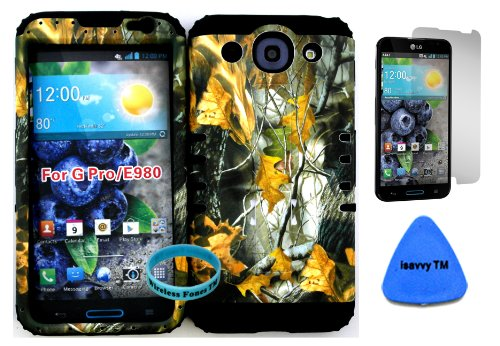 Lg Optimus G Pro E980 Camo Mossy Hunter Series Dry Leaves Plastic Snap On + Black Silicone Kickstand Cover Case (Screen Protector, Pry Tool & Wireless Fones Tm Wristband Included) front-953894