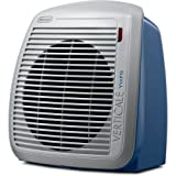 DeLonghi 1500-Watt Fan Heater, Features 2 Heat Settings with a Extra Quiet Operation, Includes a Safety Thermal Cut-Off and a Anti-Freeze Setting, Blue with White Face Plate