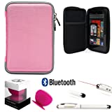 Travel Hard Nylon Lightweight Case For RCA RCT RCT6378W2 RCT6077W22 RCT6077W2 7-inch Tablet + Pink Bluetooth Suction Speaker + Stylus Pen