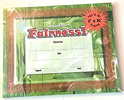 Character Education Fairness Award Certificate 8x10in