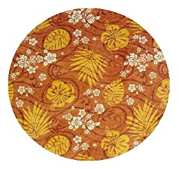 Trade Winds Tropical Floral Coral Orange - 3\' ROUND Custom Stainmaster Premium Nylon Carpet Area Rug ~ Bound Finished Edges