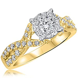 7/8 CT. T.W. Diamond Ladies Engagement Ring 10K Yellow Gold- Size 8.5