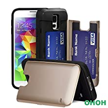 """buy Galaxy S5 Case,Ohoh [Slot Series]""""New""""Samsung Galaxy S5 Case Credit Card [Drop Protection] [Shockproof] [Dual Layer]Protection Cover Credit Card Case For Samsung Galaxy S5. (Gold)"""