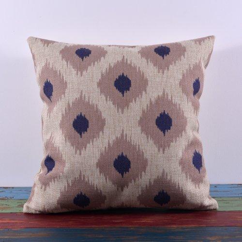 45*45Cm Blue Grey Dot Ikat Classic Design Home Decoration Linen Cushion Covers Pillow Case front-617602