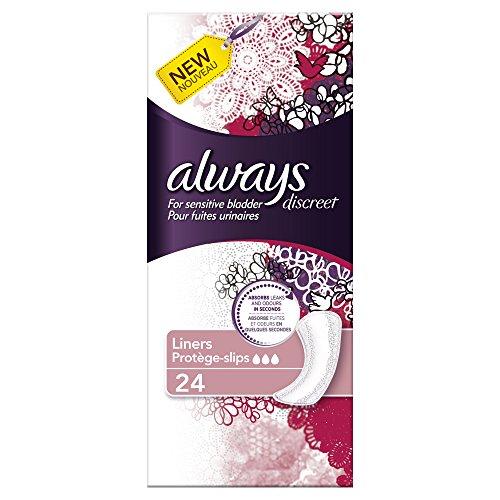 Always, Assorbenti Discreet per perdite urinarie, pacco convenienza (sufficiente per 1 mese), 6 confezioni da 24 pz.