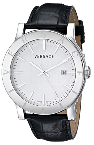 "Versace Men's VQB010000 ""Acron"" Stainless Steel Watch with Black Leather Band image"