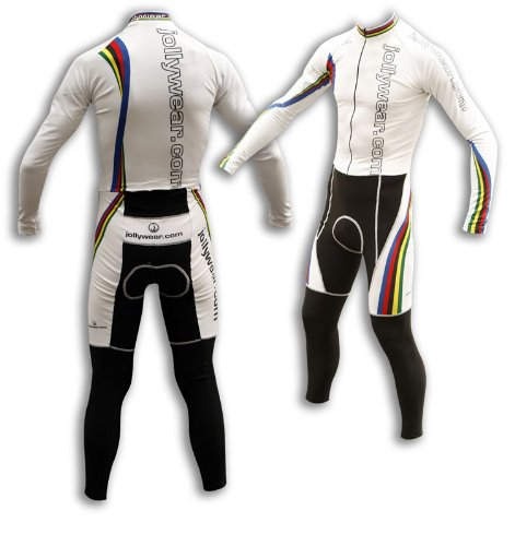 Buy Low Price JOLLYWEAR Cycling Thermal Skinsuit – long sleeves and tights (JW WORLD WHITE collection) (B003IIGGFY)