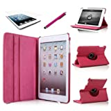 inShang (Hot Pink) 360 Degrees Slim Rotating Stand Leather Case Cover for Apple iPad mini 7.9 inch Tablet With Auto Wake / Sleep Feature (For iPad Mini 1st/2nd, Hot pink)