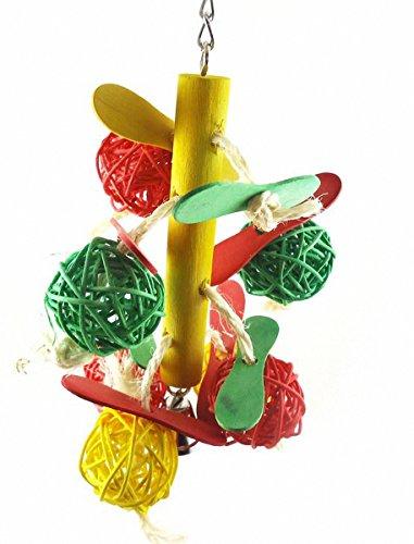 Bunt-Blle-Lebensmittelfarbe-Natrlich-Holz-Papagei-Vogel-Spielzeug-Ara-afrikanische-Grau-Wellensittiche-Lustige-Biss-Spielzeug-10-23-cmTyp-B