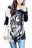(トーアソーア) toasoa インパクト大 トラ 柄 フェイス プリント チュニック Tシャツ ロンT 長袖 裾くしゅ 虎 タイガー 豹柄 ヒョウ柄 レディース ファッション 黒