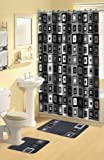 Home Dynamix Boutique Deluxe Shower Curtain and Bath Rug Set: BOU 7 Blocks Black: 17 Piece Bath Set