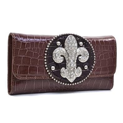 Rhinestone Fleur De Lis Croco Checkbook Wallet -Brown