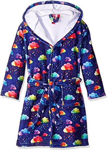 Up Past 8 Big Girls' Fuzzy Hooded Robe, Rainbow Clouds, Large/8/10