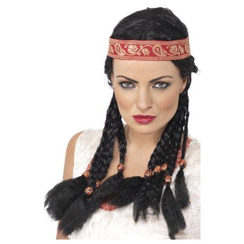 ADULT WOMENS BLACK POCAHONTAS WIG COWBOYS & INDIANS SMIFFYS FANCY DRESS COSTUME