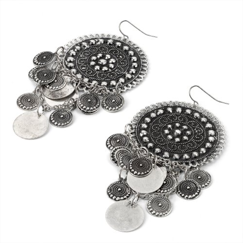 Round Disc Drop Pierced Fashion Earrings Burnt Silver