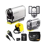 Sony HDR-AS100V/W HD POV Action Camera Bundle Includes: White HD POV Action Camera with 3-Inch LCD, Replacement Waterproof Case, Replacement Door Pack, Sony 16GB MicroSDHC Memory Card, Carry Case, Floating Wrist Strap, & micro-HDMI - HDMI Cable