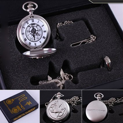 Fullmetal Alchemist Anime Pocket Watch & Necklace & Ring