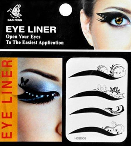 eyeshadow stickers Kitty-Party Temporary Eye Eyeliner Transfer Eyeshadow Makeup Beauty Tattoo Stickers - Tribal & Flower Design