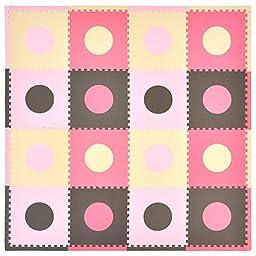 Tadpoles 16 Sq Ft Playmat Set, Pink/Brown