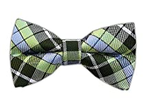 100% Silk Woven Green Plaid Self-Tie Bow Tie