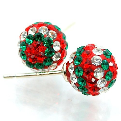 .925 Sterling Silver Christmas Disco Ball Stud Earrings w/ Red White Green Swarovski Crystal Pave