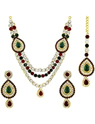 Om Jewells Traditional Ethnic Gold Plated Trio Bejewelled Bridal Kundan Necklace Set NL1000506