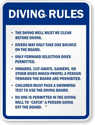 "Diving Rules Sign, 24"" X 18"" back-6050"