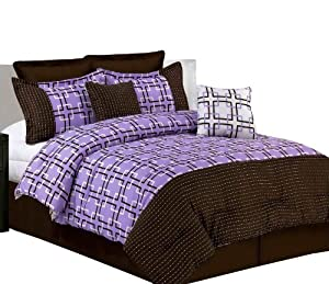 Misaka 8-Piece Pick Stitch Comforter Set, King, Lavender