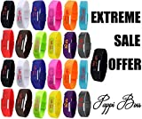Pappi Boss - LIMTED TIME - Unisex Multicolor - Set of 25 - JUMBO COMBO - Digital Rubber Jelly Slim Silicone Sports Led Smart Band Watch for Boys, Girls, Men, Women, Kids - EXTREME MOST DISCOUNT EVER