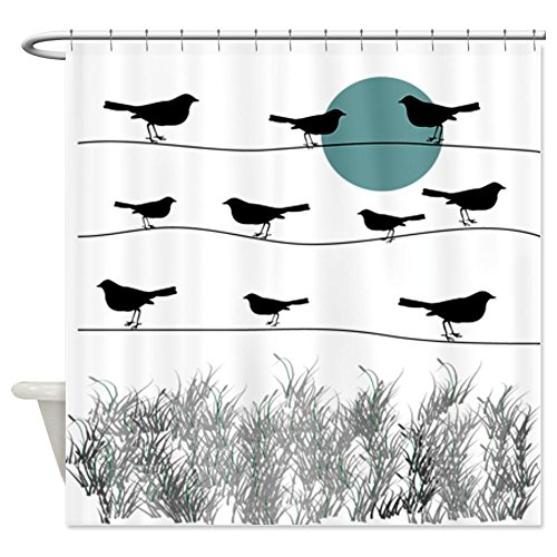 CafePress - Birds On A Wire 3 Shower Curtain - Decorative Fabric Shower Curtain (Bird On A Wire Rug compare prices)