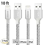 iPhone Charger ,Zteanok 2 Pack 10 Feet Nylon Braided Cord Lightning Cable to USB Charging Charger for iPhone 7/7 Plus/6/6 Plus/6S/6S Plus,SE/5S/5,iPad,iPod Nano 7 - 10 Ft(3 Meters) - Black silver