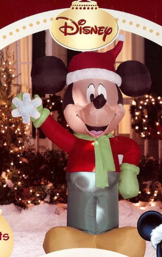 Disney 4' tall Mickey Mouse standing & holding Snowflake Christmas Airblown Inflatable by Gemmy